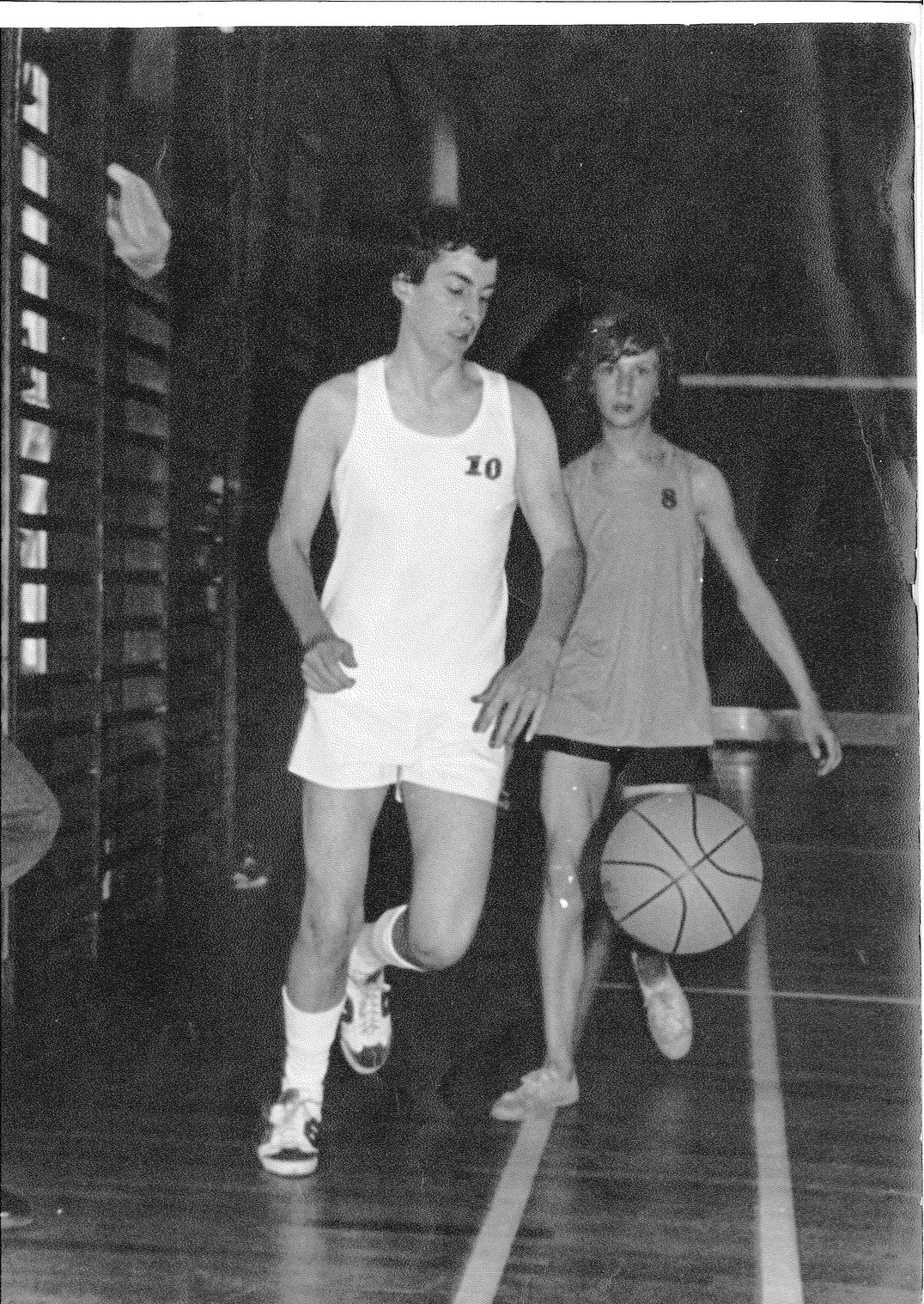 Keith Cudlip chases Ron Hand in the 1978 Basketball Marathon Charity Match